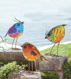 yard items made out of fused glass